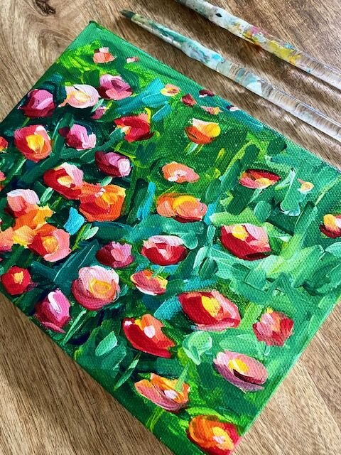 Easy Acrylic Painting How To Paint A Field Of Flowers With Acrylic Paint On Canvas For Beginners Elle Byers Art