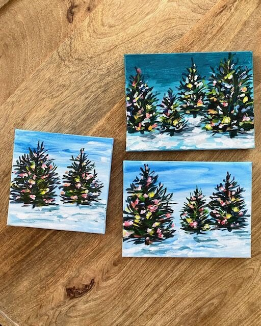 How To Paint A Christmas Tree On Canvas With Acrylic Easy Step By Painting Tutorial For Beginners Elle Byers Art