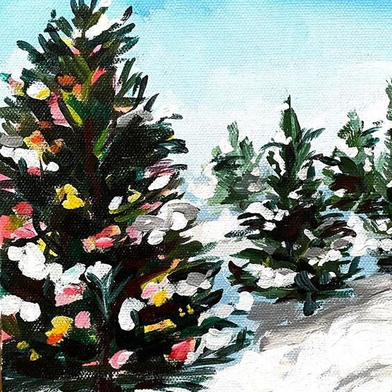 How To Paint A Christmas Tree On Canvas With Acrylic Paint Easy Step By Step Painting Tutorial For Beginners Elle Byers Art