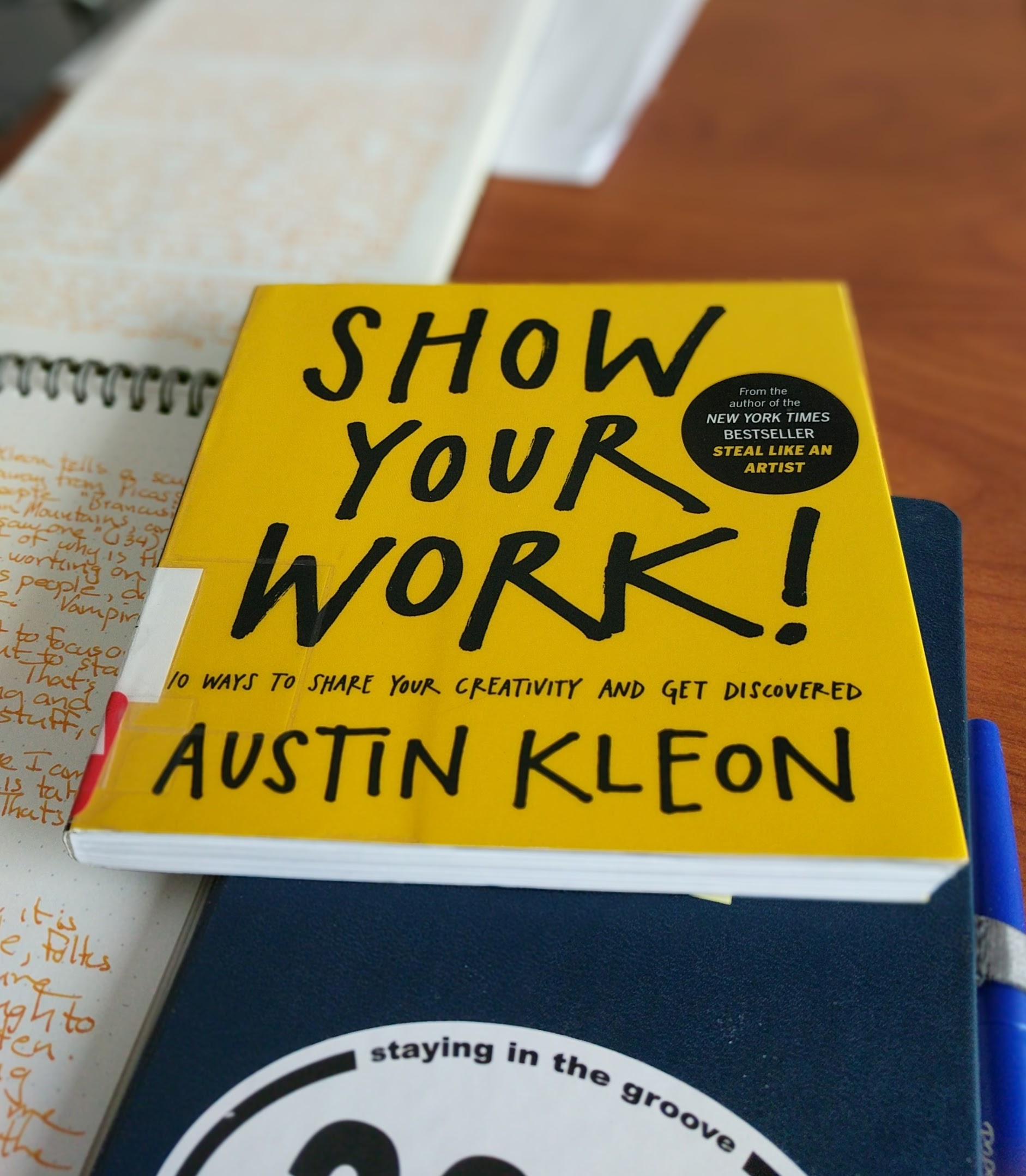 Austin KleonShow Your Work - This book got me started on this website. It has me creating more and sharing, showing my work. Austin Kleon is a proponent of doing the work, learning the craft, and sharing so people notice. I like his idea that no one gets famous by publishing anymore; they have to get famous in order to publish. I don't know that I'll ever be famous, but I like doing things a person would do to become famous. I'm working on my craft, publishing, and listening to smart people who create. Austin Kleon is a smart person who creates. He also gives much more than he gets. That's a part of this too.The book is so good that I'm buying a copy.
