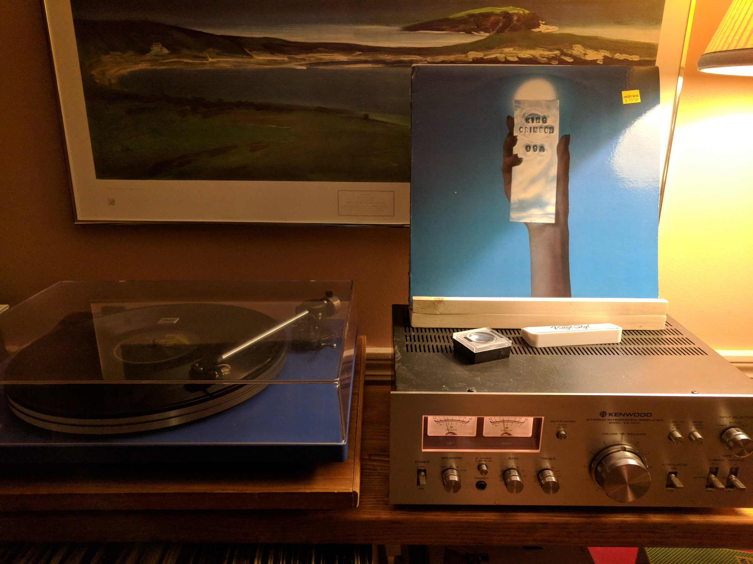 King Crimson, USA. U-Turn Audio Orbit Turntable, Kenwood KA-5500 amp, and Boston Acoustics A-70s (not pictured).