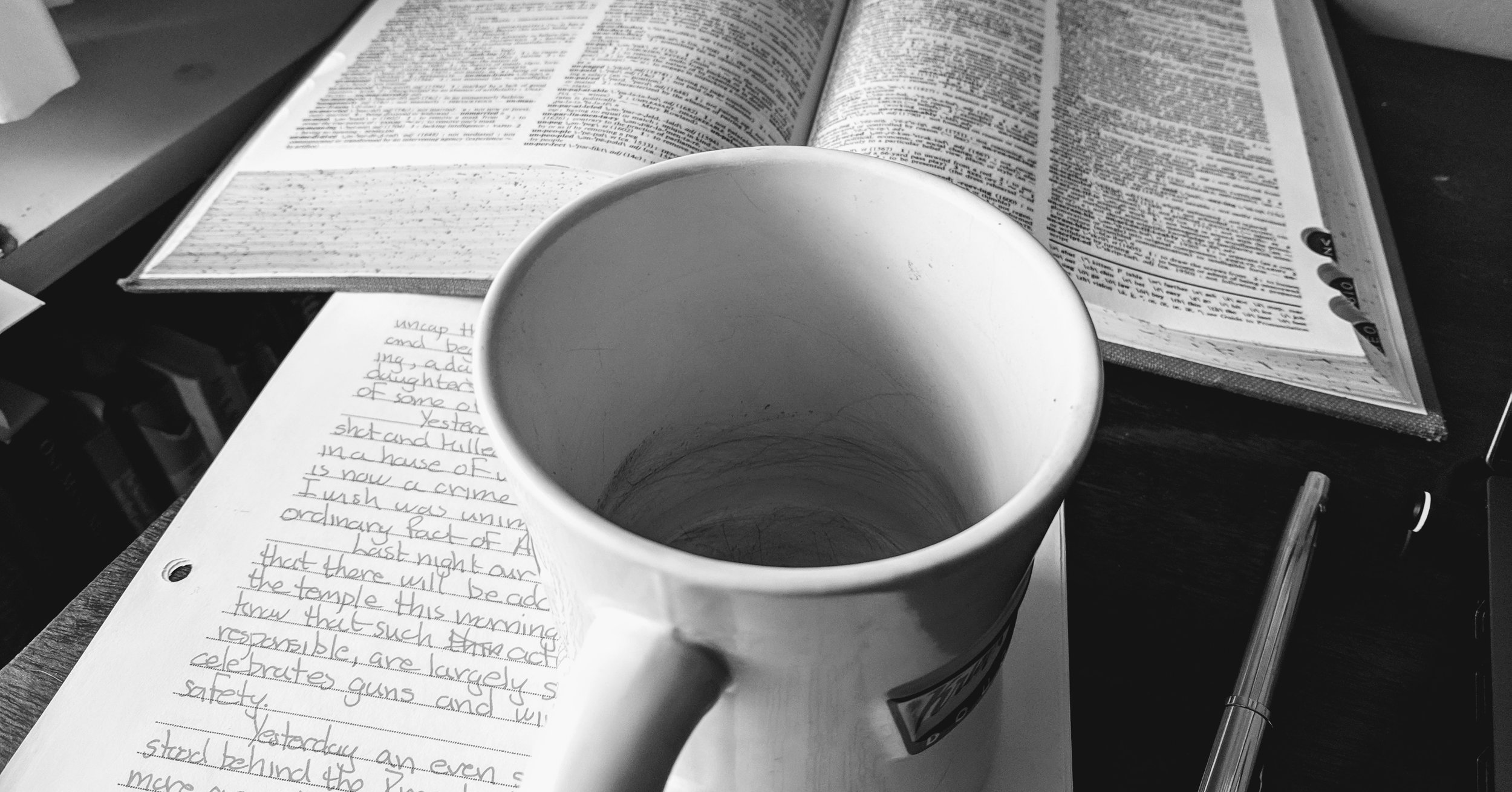 Empty mug and searching for words