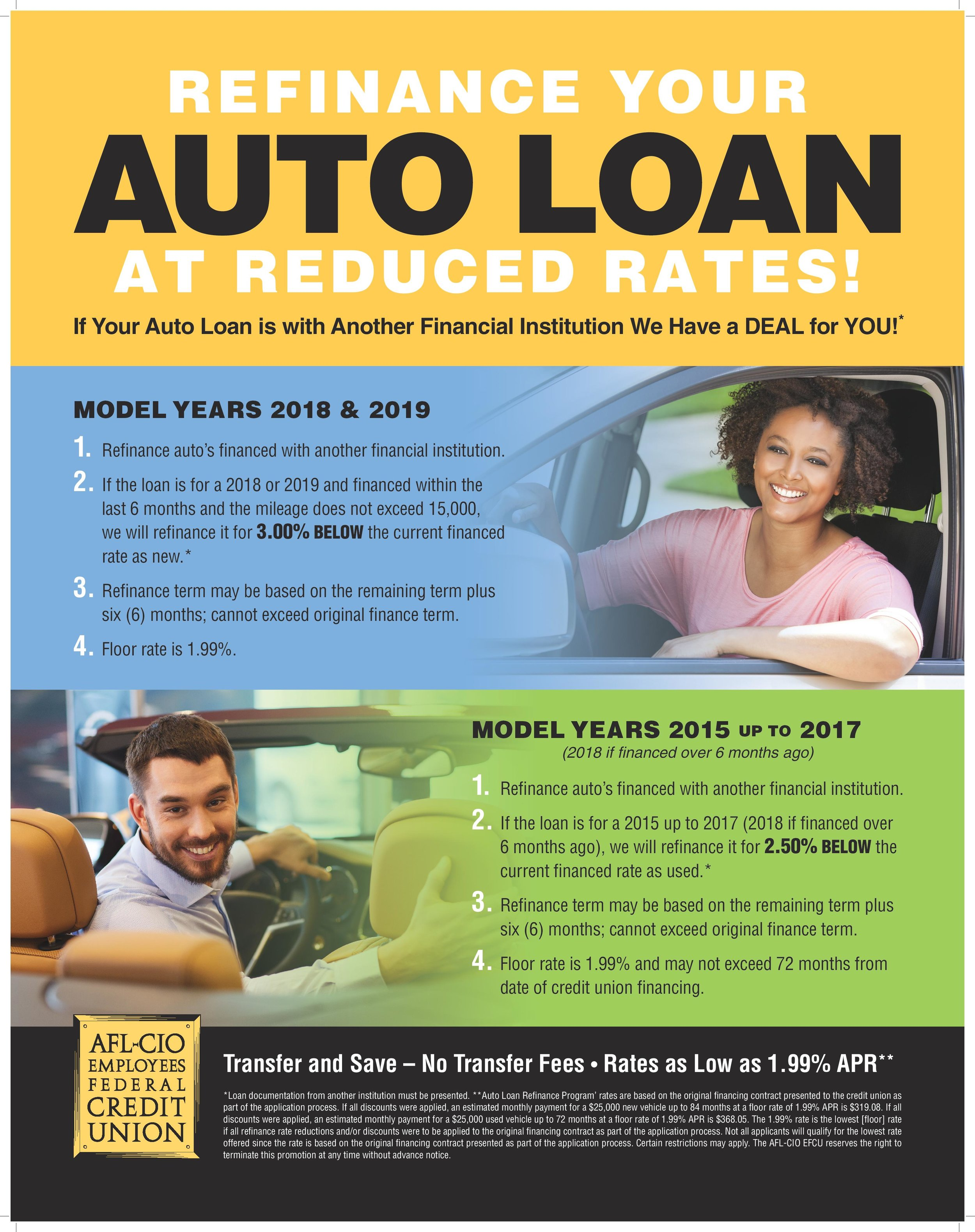 REFINANCE YOUR AUTO LOAN AT REDUCED RATES! If Your Auto Loan is with Another Financial Institution We Have a DEAL for YOU!* MODEL YEARS 2018 & 2019 Refinance auto's financed with another financial institution. 2. If the loan is for a 2018 or 2019 and financed within the last 6 months and the mileage does not exceed 15,000, we will refinance it for 3.00% BELOW the current financed rate as new.* 3. Refinance term may be based on the remaining term plus six (6) months; cannot exceed original finance term. Floor rate is 1.99% MODEL YEARS 2015 UP TO 2017 (2018 if financed over 6 months ago) Refinance auto's financed with another financial institution. 2. If the loan is for a 2015 up to 2017 (2018 if financed over 6 months ago), we will refinance it for 2.50% BELOW the current financed rate as used.* 3. Refinance term may be based on the remaining term plus six (6) months; cannot exceed original finance term. 4. Floor rate is 1.99% and may not exceed 72 months from date of credit union financing.  Transfer and Save – No Transfer Fees • Rates as Low as 1.99% APR** *Loan documentation from another institution must be presented. **Auto Loan Refinance Program' rates are based on the original financing contract presented to the credit union as part of the application process. If all discounts were applied, an estimated monthly payment for a $25,000 new vehicle up to 84 months at a floor rate of 1.99% APR is $319.08. If all discounts were applied, an estimated monthly payment for a $25,000 used vehicle up to 72 months at a floor rate of 1.99% APR is $368.05. The 1.99% rate is the lowest [floor] rate if all refinance rate reductions and/or discounts were to be applied to the original financing contract as part of the application process. Not all applicants will qualify for the lowest rate offered since the rate is based on the original financing contract presented as part of the application process. Certain restrictions may apply. The AFL-CIO EFCU reserves the right to terminate
