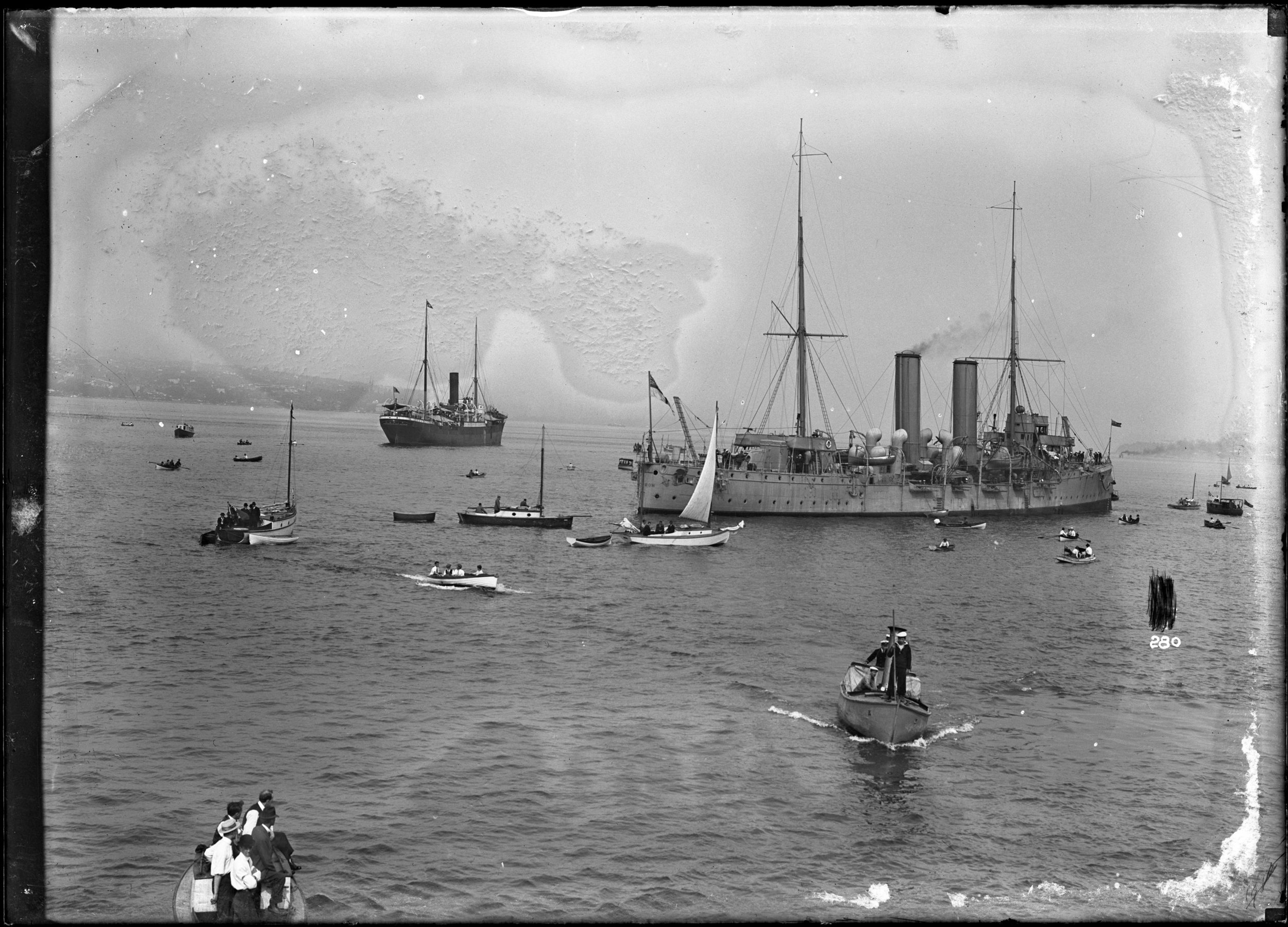 The Komagata Maru and Leisure Boats in Vancouver Harbour, 1914. Source: Vancouver Public Library