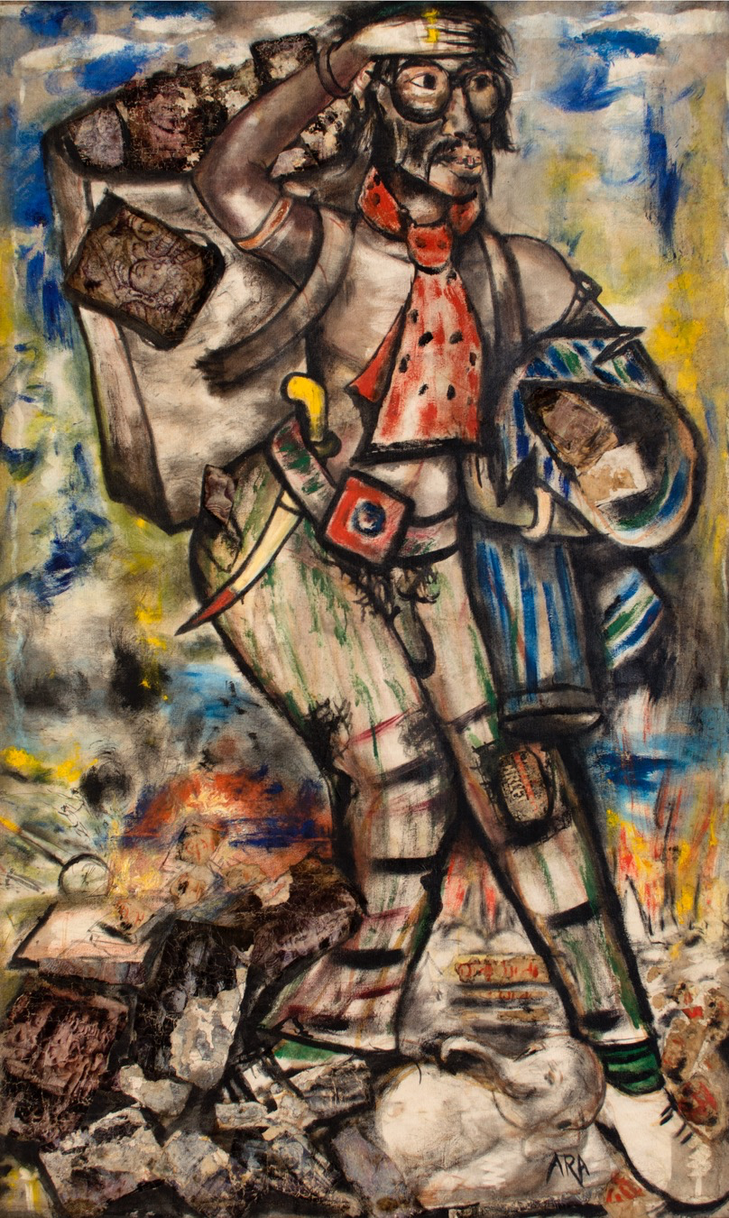 K. H. Ara.  Untitled,  ca. 1950s. Oil on canvas. H. 63 x W. 48 in. (160 x 121.9 cm). The Darashaw Collection. Image courtesy of the lender