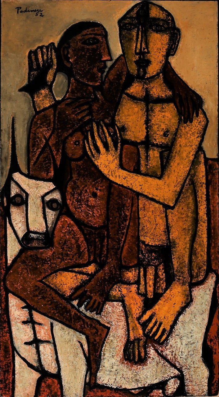 Akbar Padamsee.  Lovers , 1952. Oil on board. H. 62 x W. 32 in. (157.5 x 81.3 cm). Collection Amrita Jhaveri.