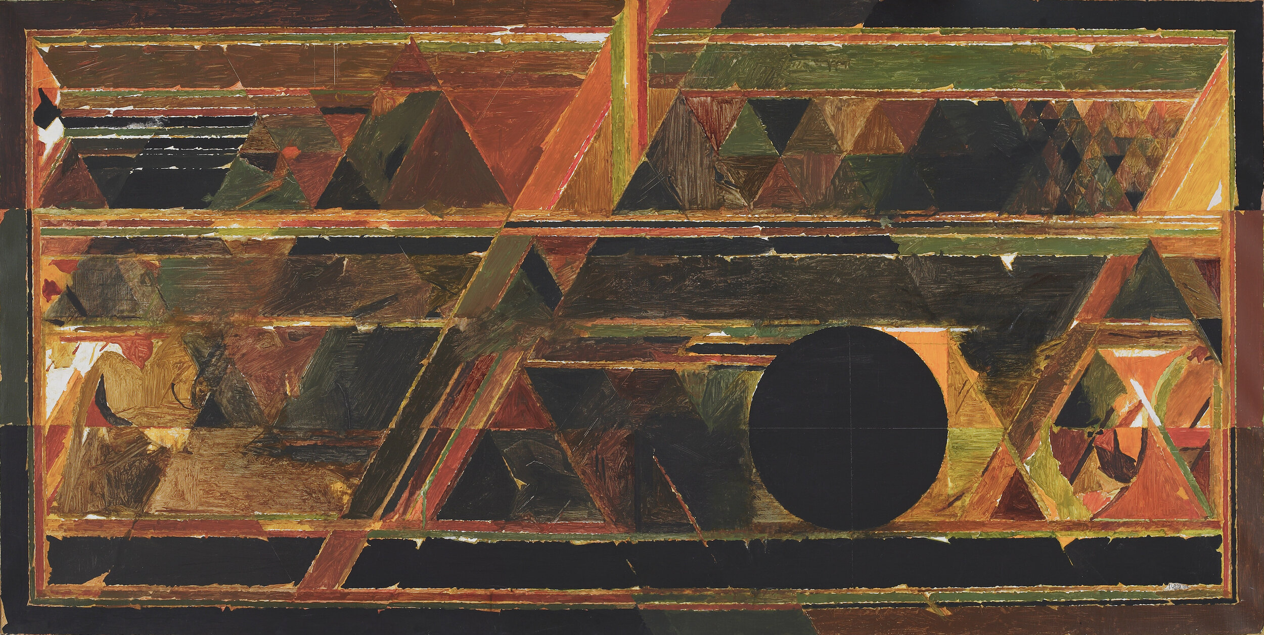 S. H. Raza  Satpura , 1984, Acrylic on canvas H. 47 x W. 94 in. (119.4 x 238.8 cm), Minal and Dinesh Vazirani, Image courtesy of the Lender