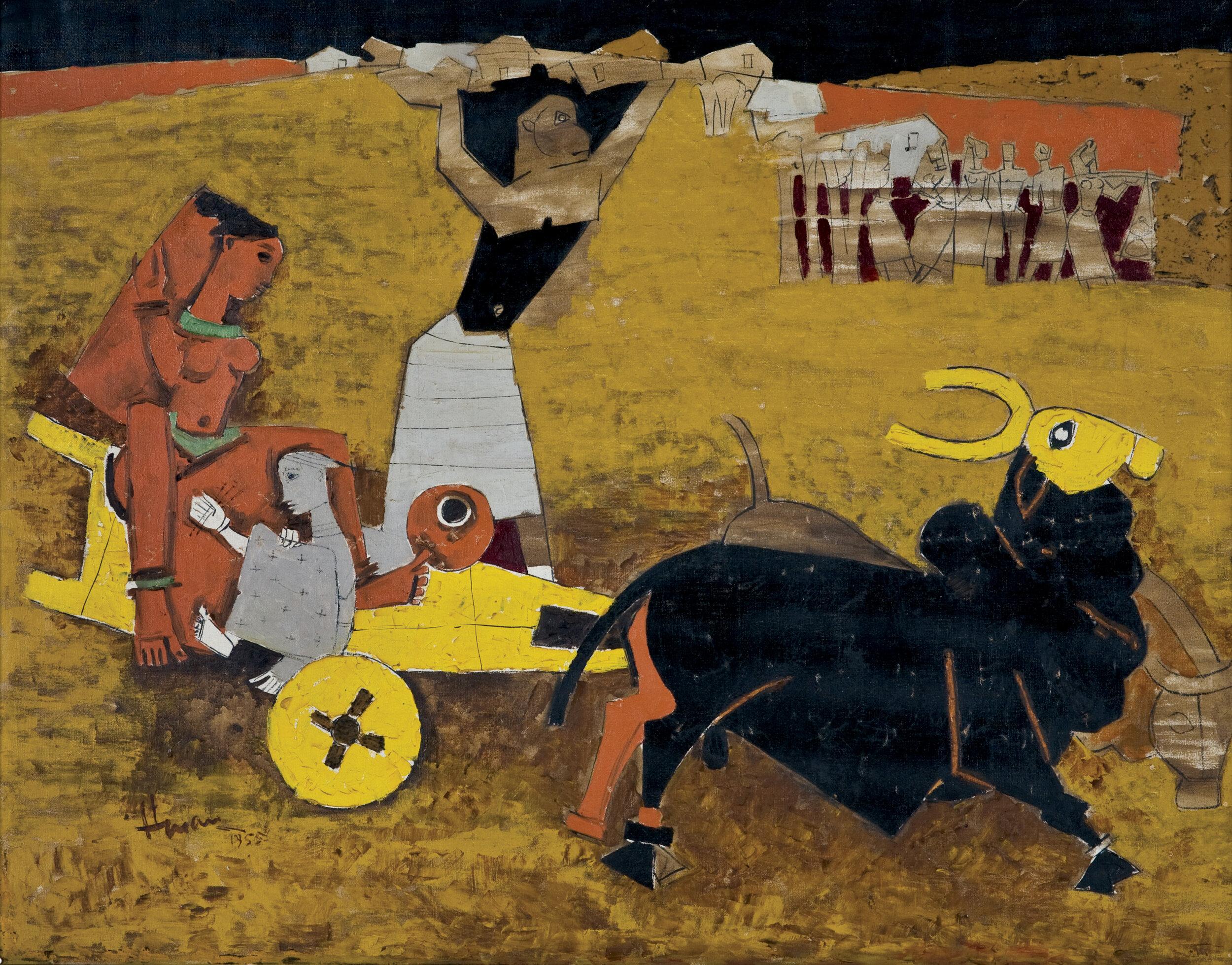 M. F. Husain  Yatra , 1955 Oil on canvas, H. 33 1/2 x W. 42 1/2 in. (85.1 x 108 cm) Collection Kiran Nadar Museum of Art, New Delhi