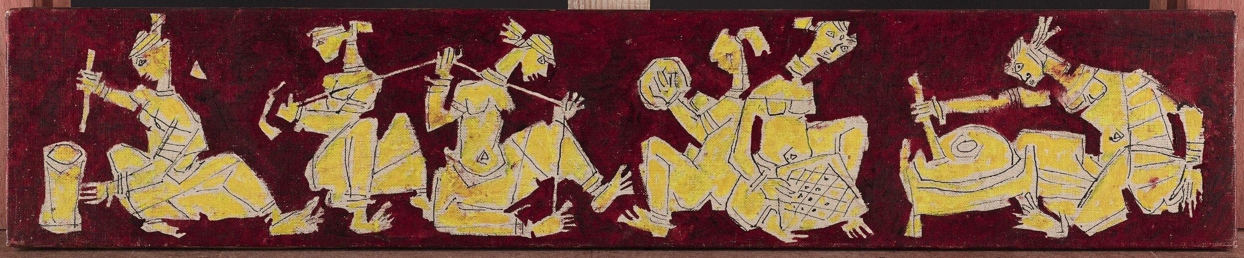 M.F. Husain. Villagers, 1955. .Oil on canvas. H. 5 x W. 25 1/2 in. (12.7 x 64.8 cm). Ashish and Reshma Jain, New Delhi. Image courtesy of Grosvenor Gallery
