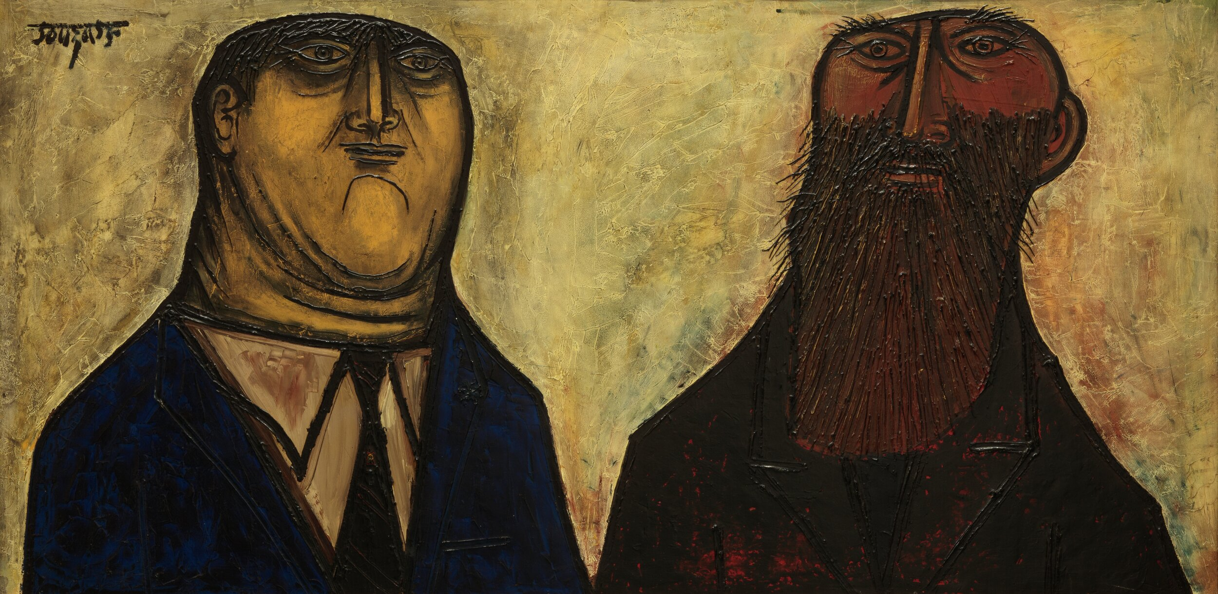F.N. Souza  Tycoon and the Tramp , 1955, Oil on masonite H. 32 x W. 56 in. (81.3 x 142.2 cm), Shumita and Arani Bose Collection, New York. Photography by Richard Goodbody
