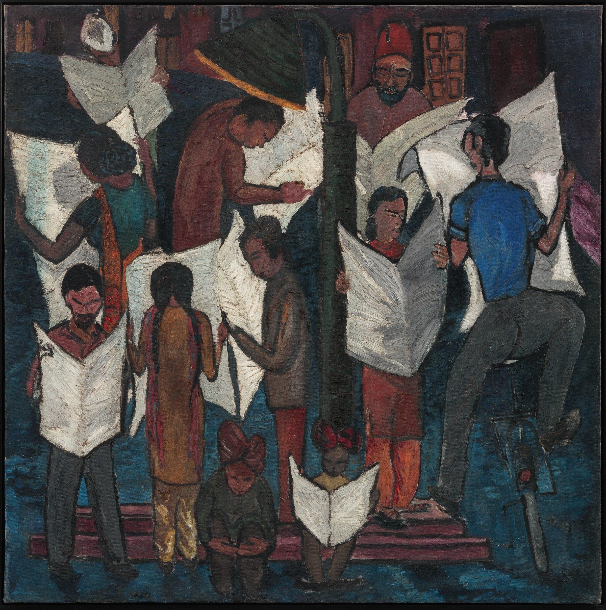 Krishen Khanna,  News of Gandhiji's Death , 1948, Oil on canvas H. 33 1/2 x W. 33 1/2 in. (85.1 x 85.1 cm), Radhika Chopra and Rajan Anandan