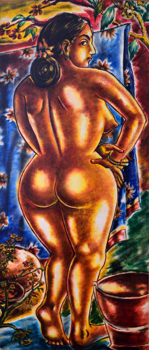 K.H. Ara,  Untitled (Large Nude) , 1965. Oil on canvas. H. 68 7/8 x W. 27 1/2 in. (175 x 70cm). Collection of Jamshyd and Pheroza Godrej. Courtesy of the lender.