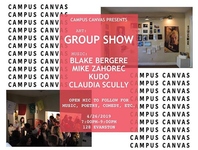 Final Campus Canvas of the year! 🎉 . . . 7:00-9:00pm 128 Evanston . . . #campuscanvas #udartanddesign #groupshow
