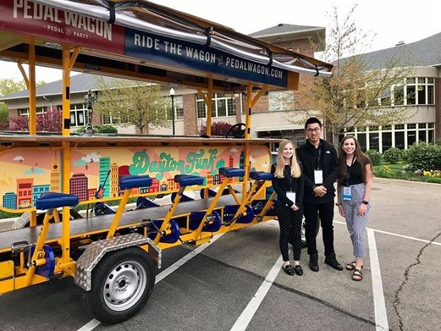 Pedal wagon design by: Jess Burnham, Meg Gramza and Nan Xiang! 🌃 . . . . . #udartanddesign #pedalwagondayton #daytonohio #universityofdayton