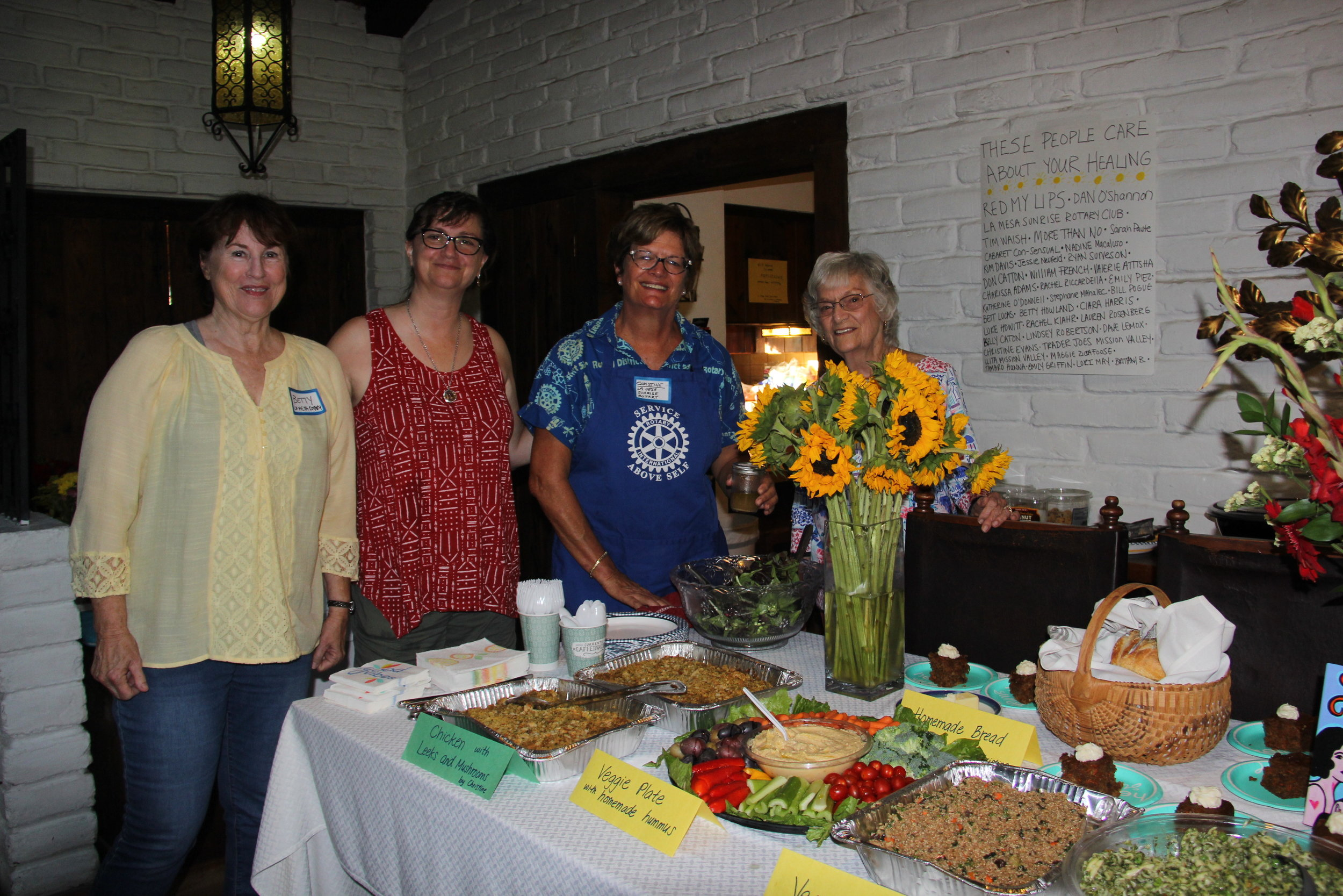 La Mesa Sunrise Rotary provided an incredible healthy dinner for survivors, as well as volunteered, and sponsored two survivors to attend. Amazing vegan carrot cake Elena! And the thoughtful breakfast made their morning Betty