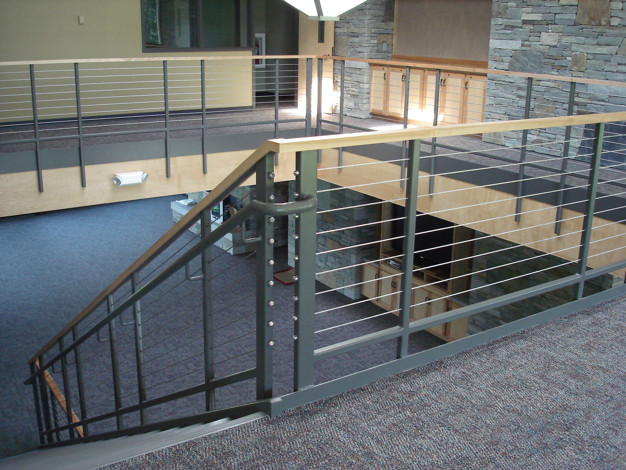 Metal railing on stairs