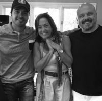 Luis Fonsi, Claudia Brant, Walter A.- Recording session, Los Angeles
