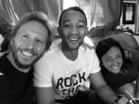 Noel Schajris, John Legend, Claudia Brant-Studio session, Los Angeles