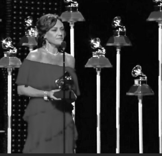 Claudia Brant presenting awards at Latin Grammys, Las Vegas 2018