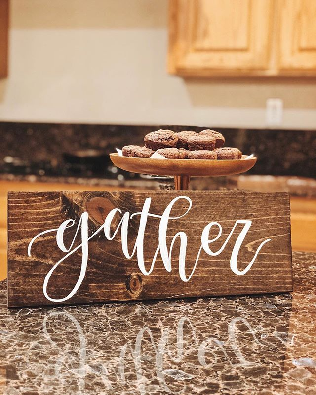 • gather •  We will gladly gather around to eat all the homemade delicious brownie bites in the new home 😍 - We are so excited to join @lydiaandpearl and pearl on December 8th this year! Come and shop all of our signs and ornaments or place your Christmas orders! - This sweet little gather sign has just sold, but we can always make another ✨ DM to purchase or place custom orders 🤗