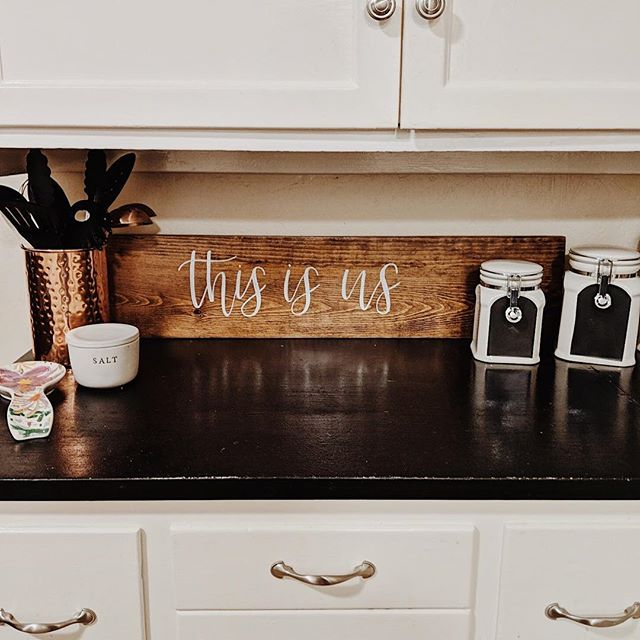 • this is us •  We just love seeing our pieces in their new homes😍 @juliaatullyy put this piece from Flair on the Farm in her kitchen! - These signs are so fun to move around and place on shelves, counters, or hung up 🥰 - Are you needing a new piece for your home or for a gift?  Send us a DM 🤗