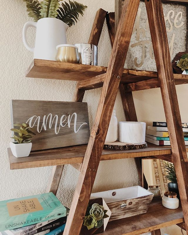 • amen 🌿 •  absolutely loving how my roommate styled this A-frame shelf we built! The sweet and simple amen sign looks just so perfect 🤩
