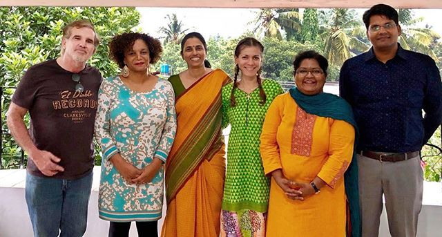 Florida International University GHES Alumni and P.I in Mysore, India. From left, Karl Krupp (2017-2018), Dionne Stephens (2014-2015), Purnima Madhivanan (P.I), Ana Lucia Rodriguez (2018-2019), Prajatka Adsul (2015-2018), and Subbash Sonker (2018-2019)