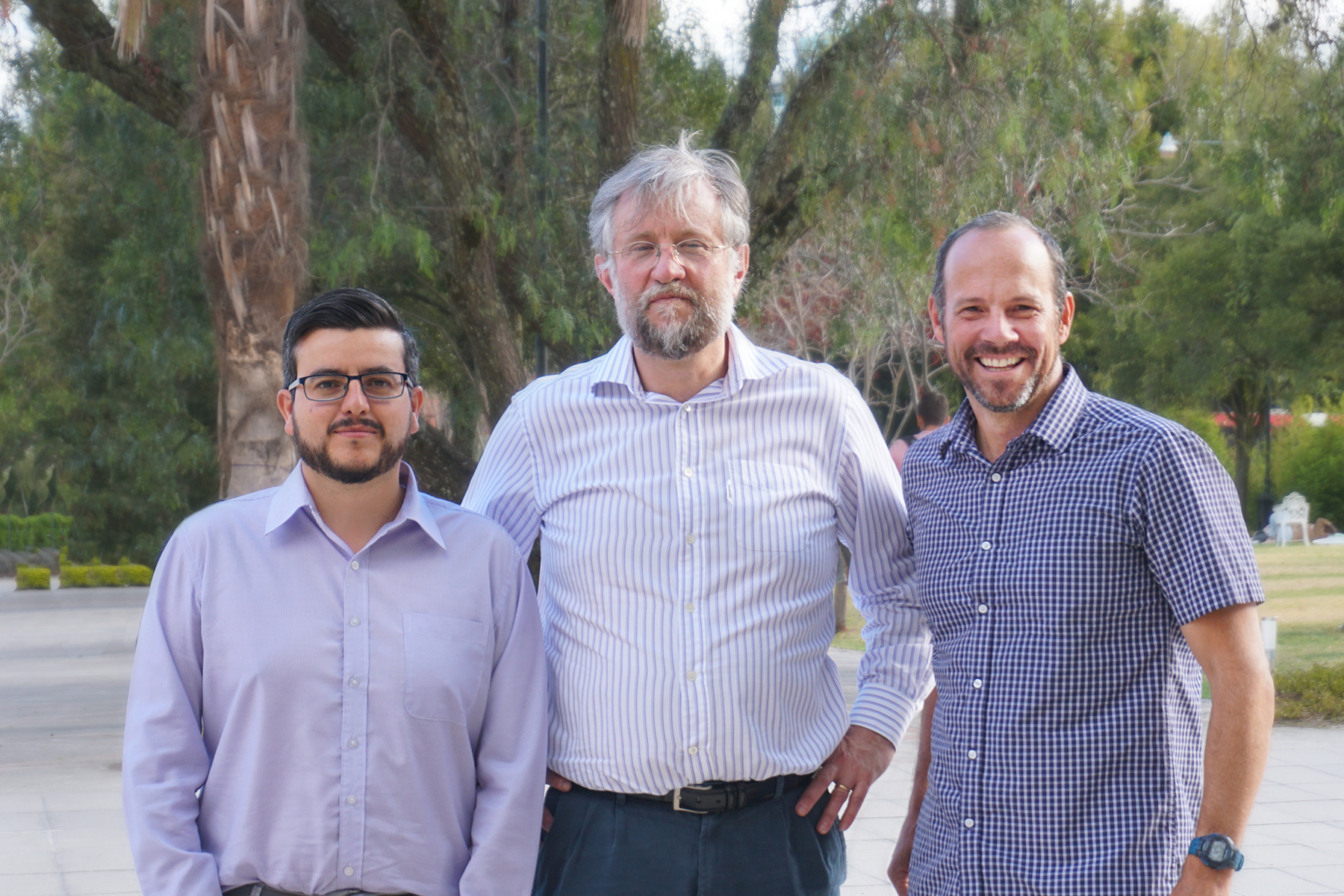 Universidad San Francisco de Quito, Ecuador -Paul Cardenas MD PhD (GHES 2018-2019), Gabriel Trueba DVM MS PhD (GHES Mentor), and Jay Graham PhD MBA MPH (GHES Mentor).