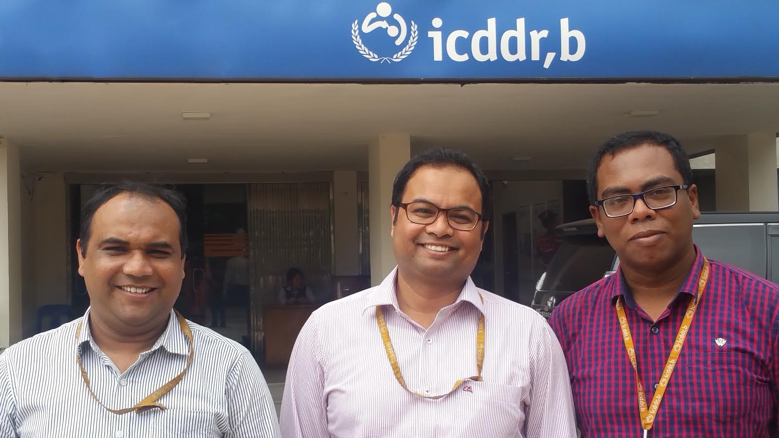 UC Berkeley GHES at the International Centre for Diarrhoeal Disease Research, Bangladesh, Zahirul Islam PhD (2015-2016), Mohammad Aminul Islam PhD MSc (GHES alumnus 2012-2013 and now a GHES mentor), Muhammad Asaduzzaman MBBS, MPH, MPhil (2017-2018).