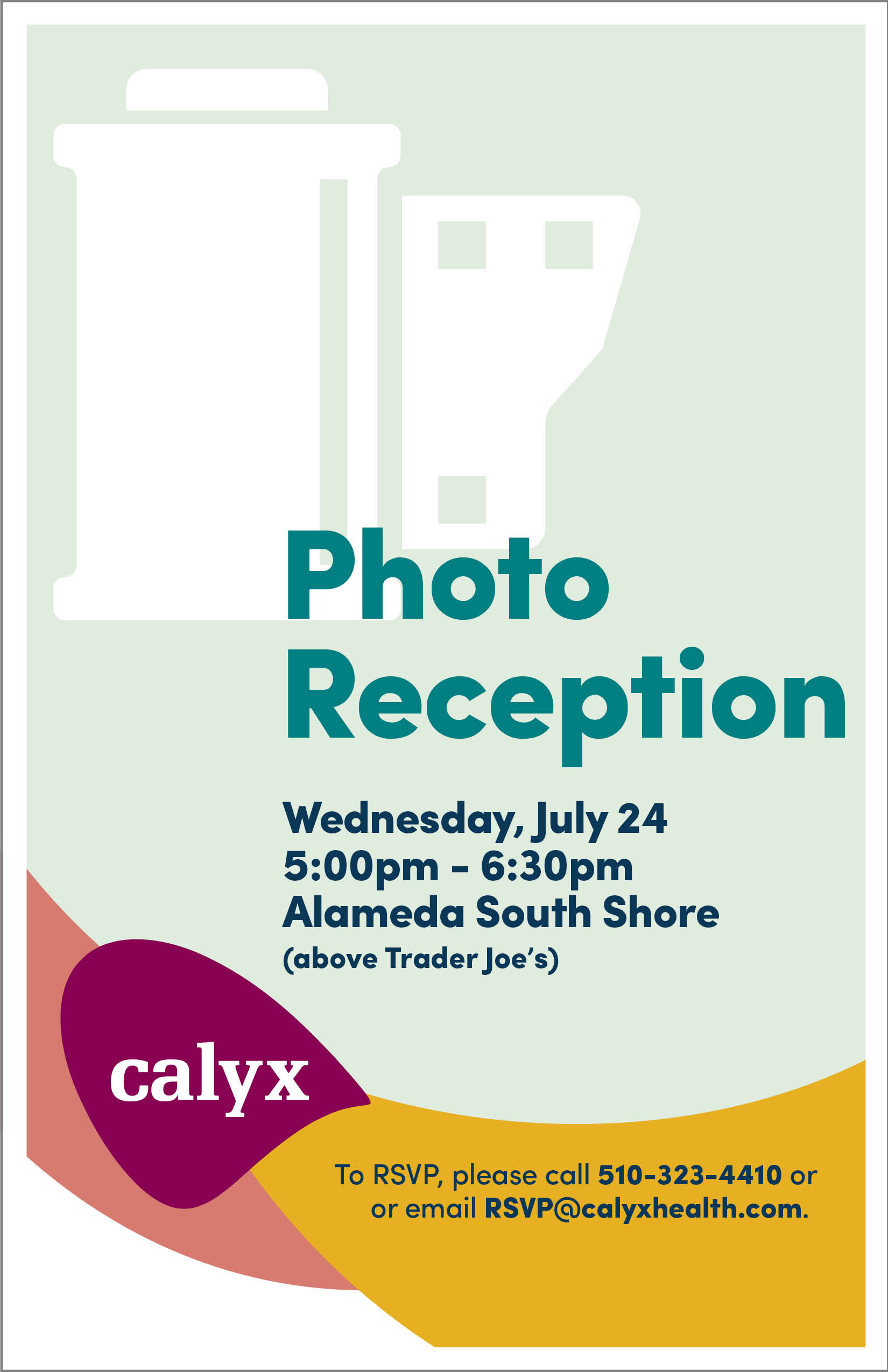 Calyx Health is proud to support the work of local artists in our community. Please join us for a special art reception as we unveil our next exhibit featuring the work of members of the Alameda Photographic Society.   To RSVP:  Call 510-323-4410 or email rsvp@calyxhealth.com