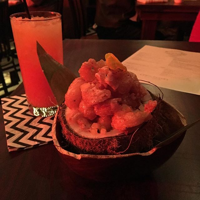 Dr Jacobys popcorn shrimp in a coconut plus a Fire Walk With Me. Meanwhile... #twinpeaks #roadhouse #popup