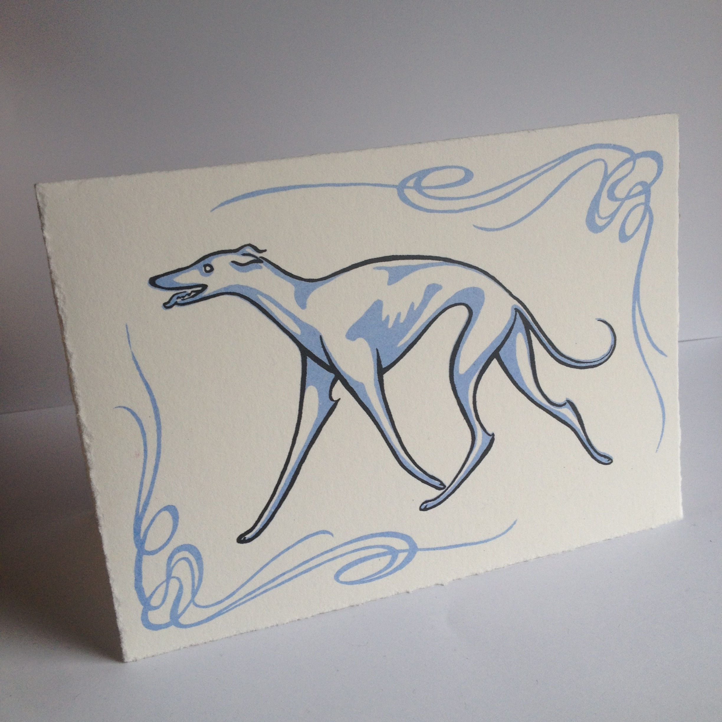 Greyhound card with art nouveau inspired border, blank inside, sold with envelope  Original art done in brush & ink, before being transferred to screen