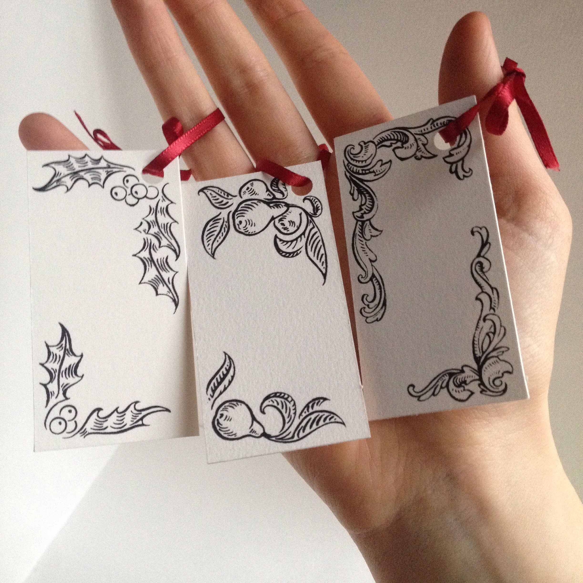 Gift tags, sold in packs of 5, ribbon included  Original art done with dip pen & ink before being transferred to screen