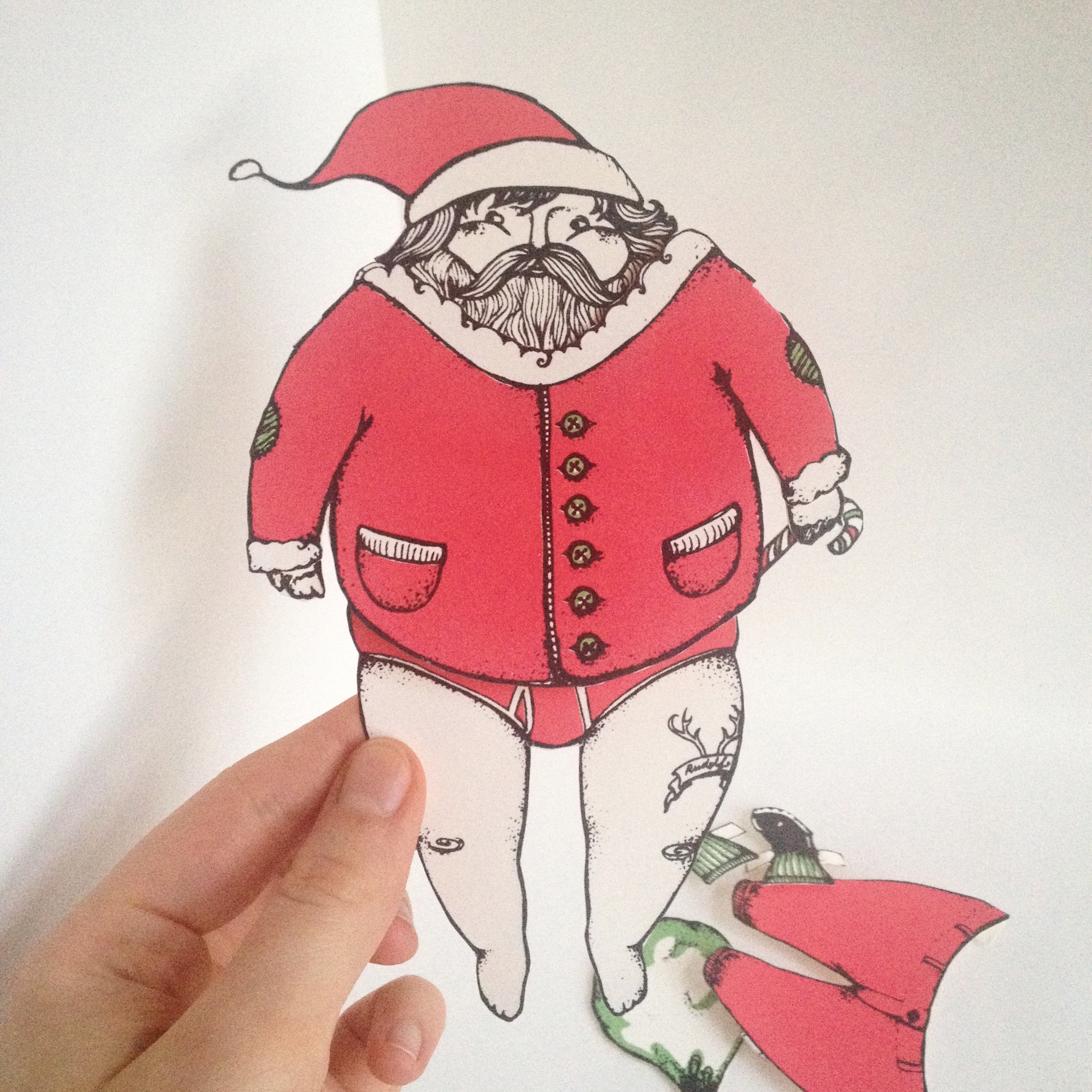 Paper Doll Santa in a state of undress