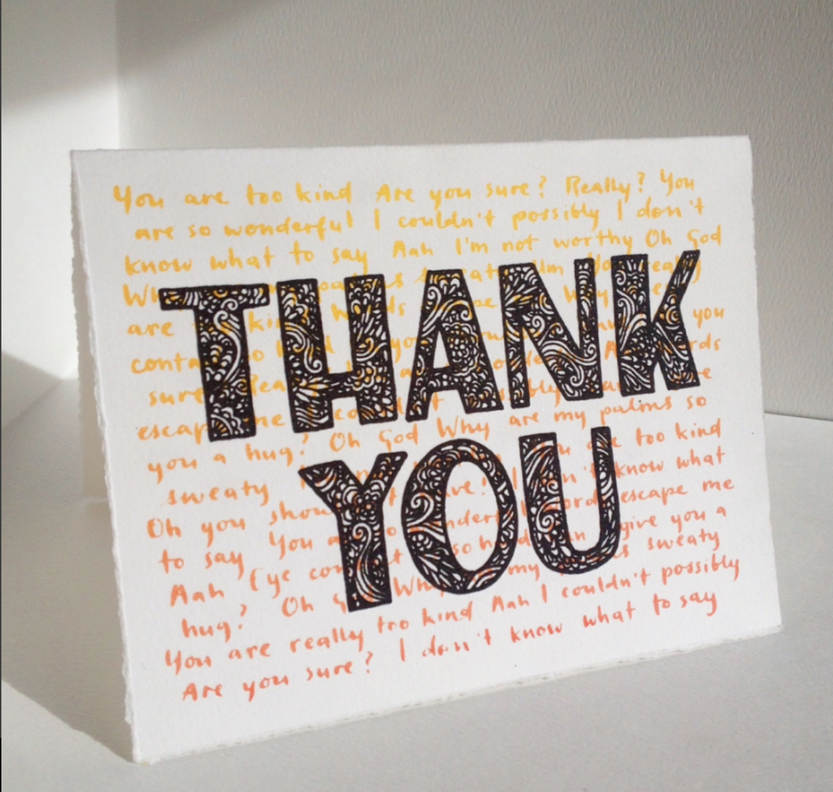 The Awkward Thanker thank-you card, blank inside, sold with envelope  Original lettering done in pen & ink, stitched together digitally before being transferred to screen