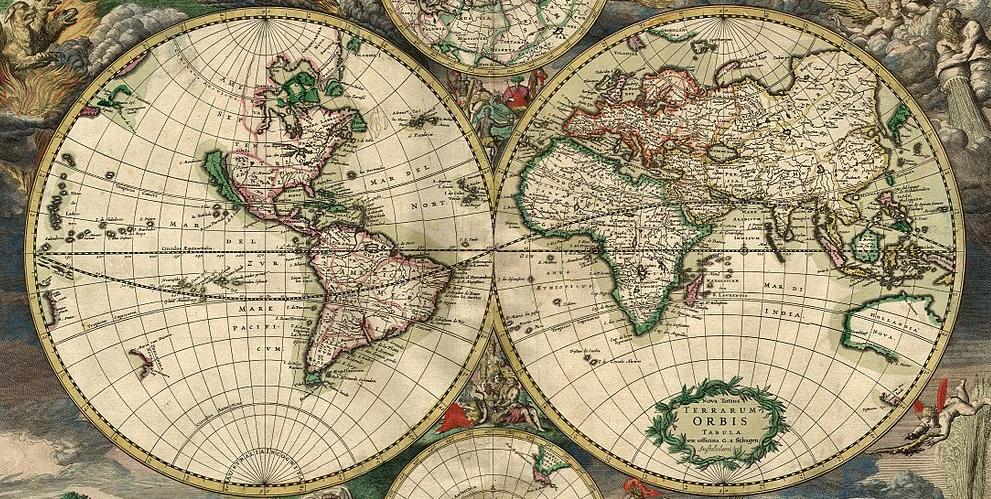 World map by Gerard van Shagen, Amsterdam, 1689