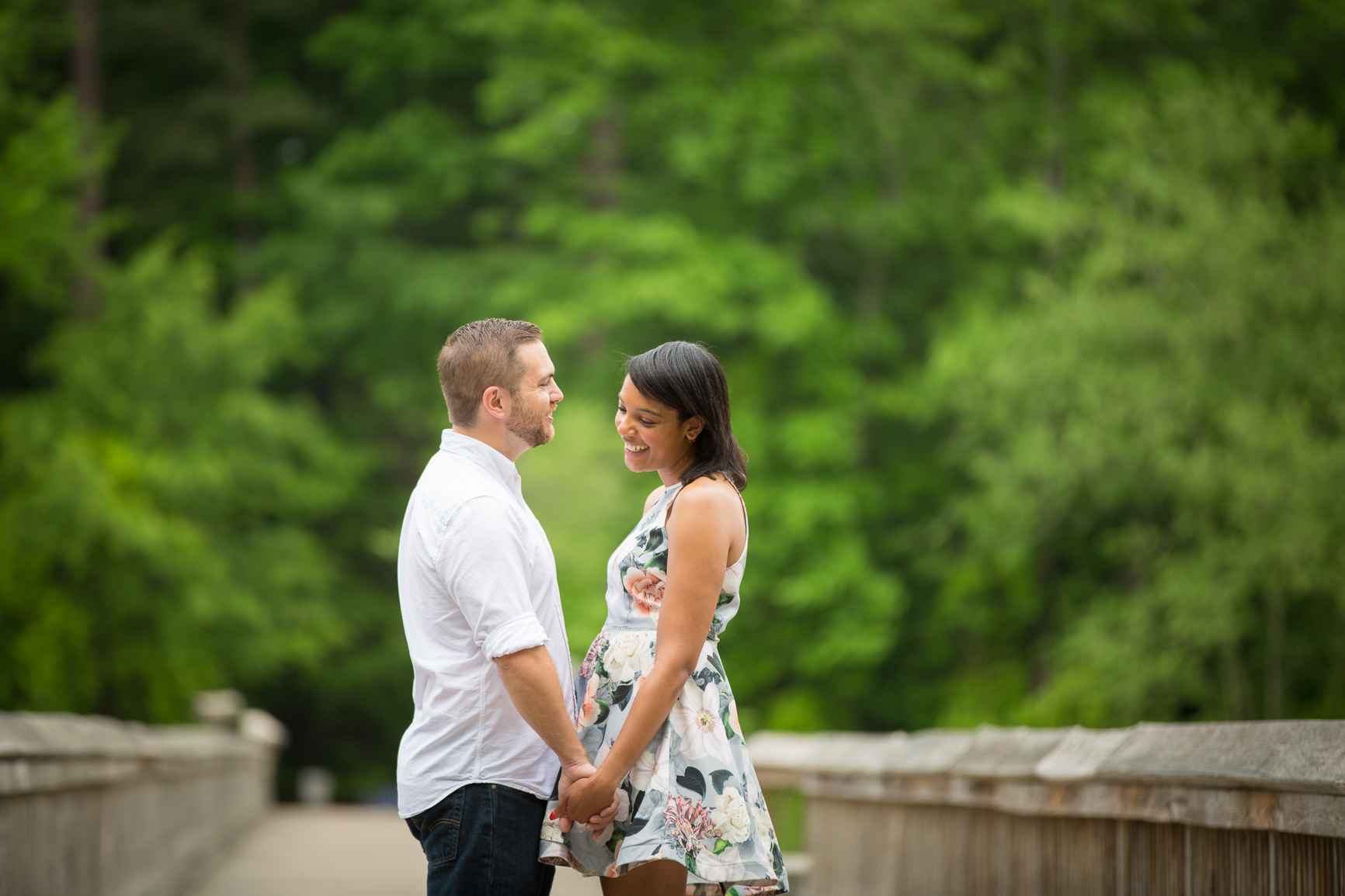 Yates Mill Raleigh Park engagement portrait photography session