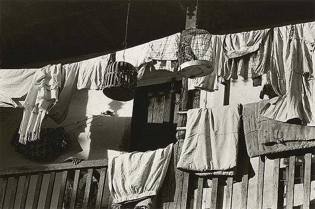 Bhupendra Karia, Birdcage and Saris on Porch, Sankheda, 1967
