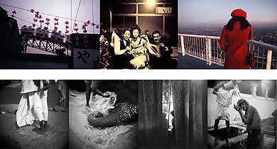 Top: Osamu James Nakagawa, End of Day from  Ma –between the past , 2003 -2005 Bottom: Annu Palakunnathu Matthew, Selections from  Memories of India , 1998-2012