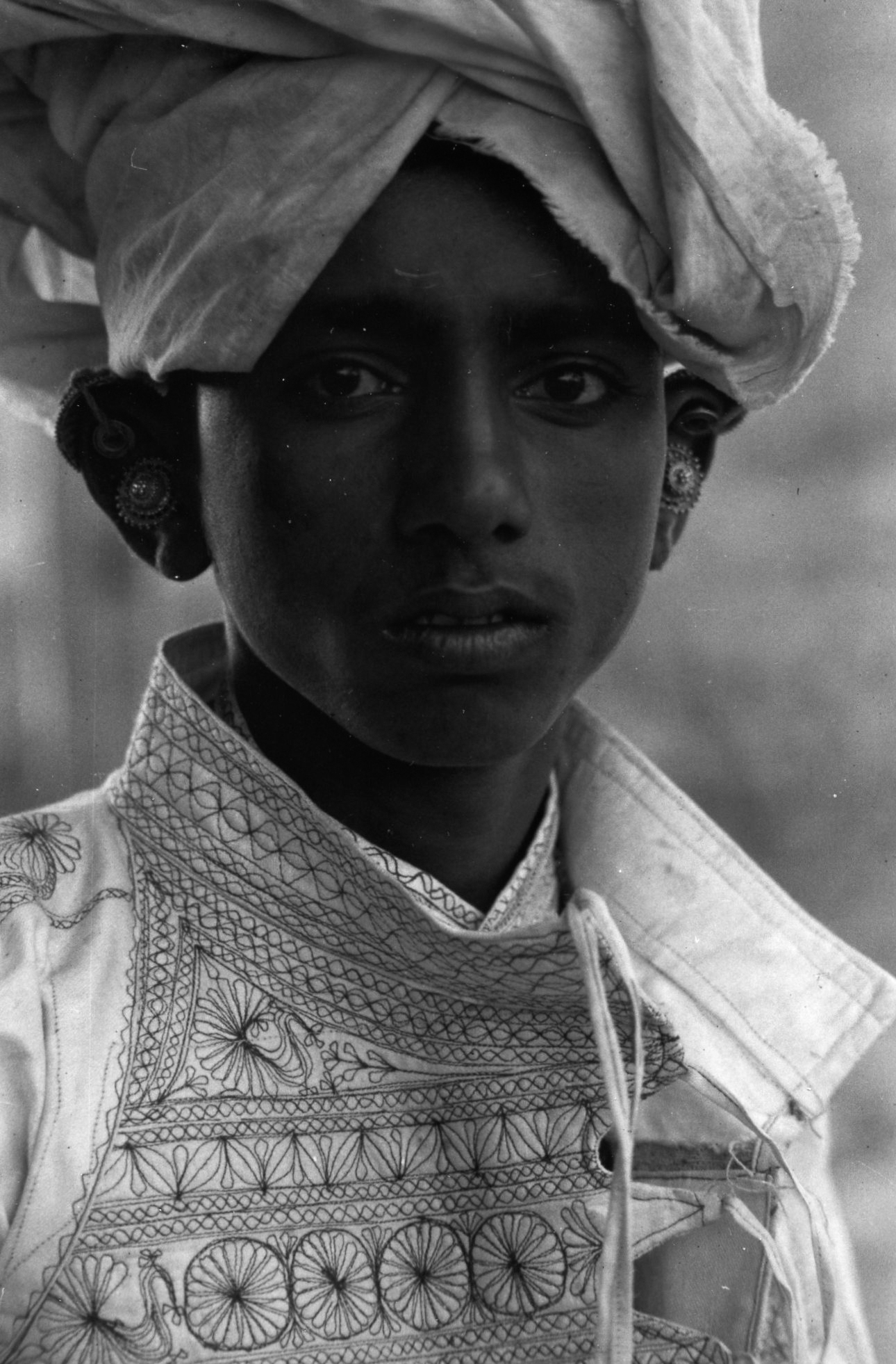 Young Boy Wearing Turban & Earrings, Calcutta , 1959