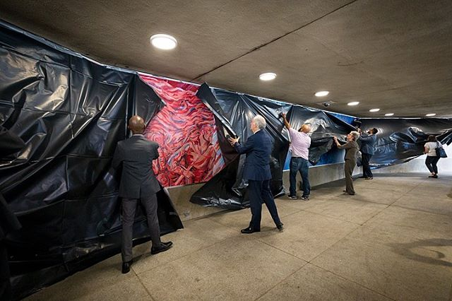 "Today's dedication ceremony of ""In Service,"" the new mural paying tribute to US military veterans, located at McPherson Square Metro. Designed by @wordsbeatsandlife with lead artist @addisonkarl and sponsored in part by @downtowndcbid 