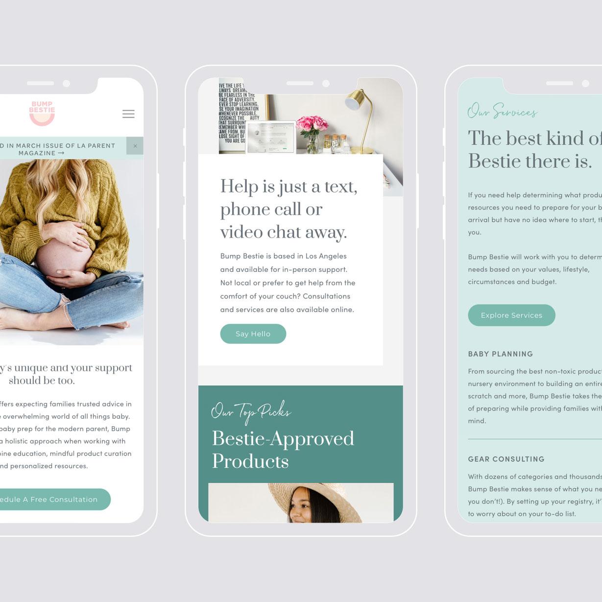 Bump Bestie - web design
