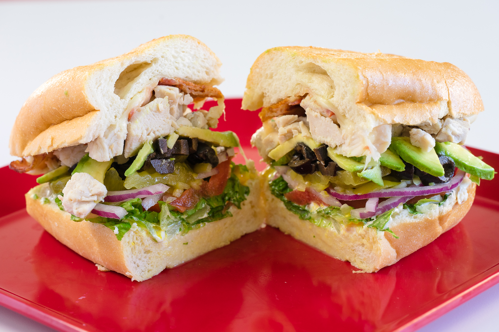 Chicken Breast and Bacon Sandwich with Avocado and Vegetables