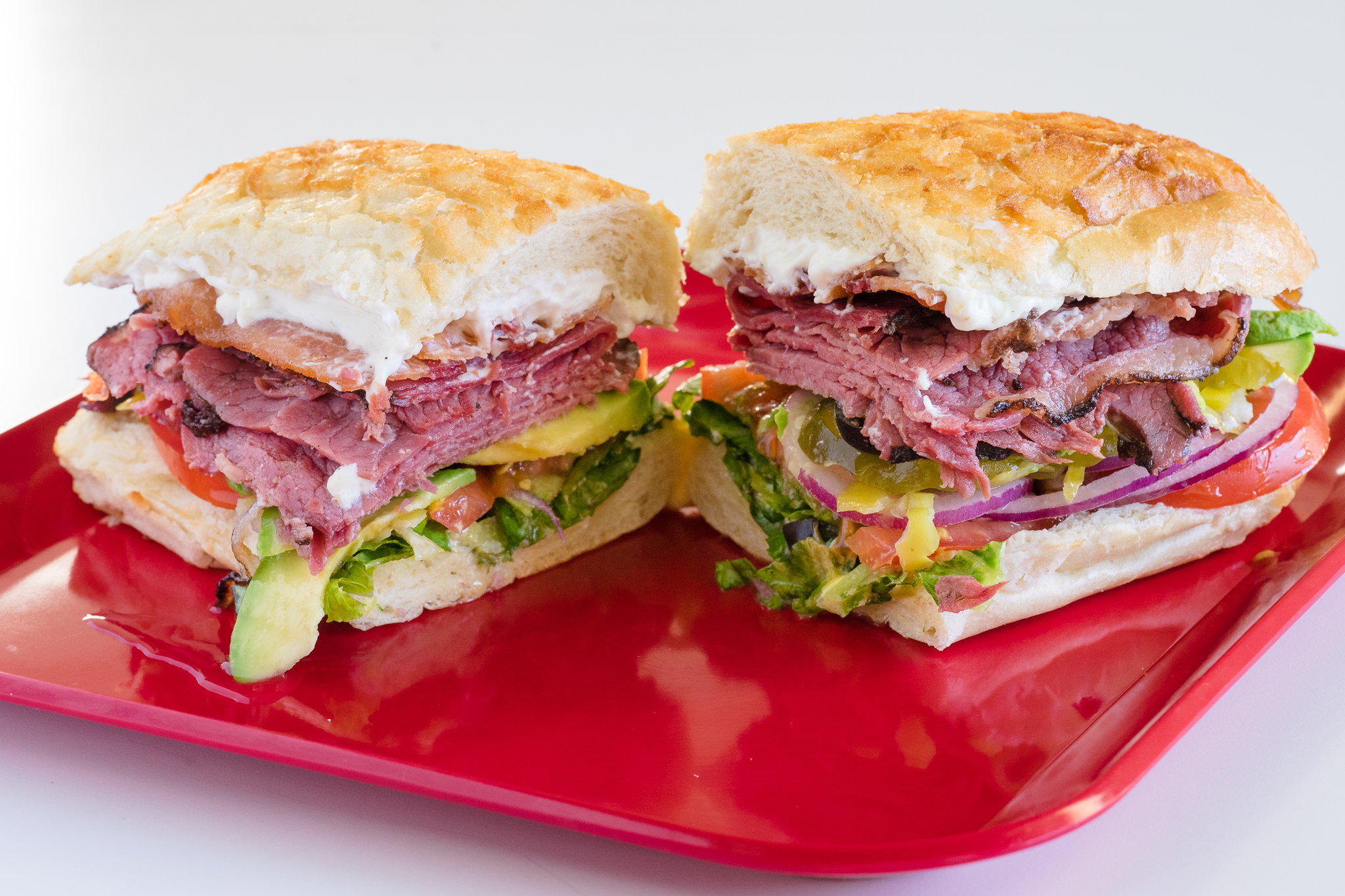 Pastrami and Bacon Sandwich with Cream Cheese, Avocado and Vegetables