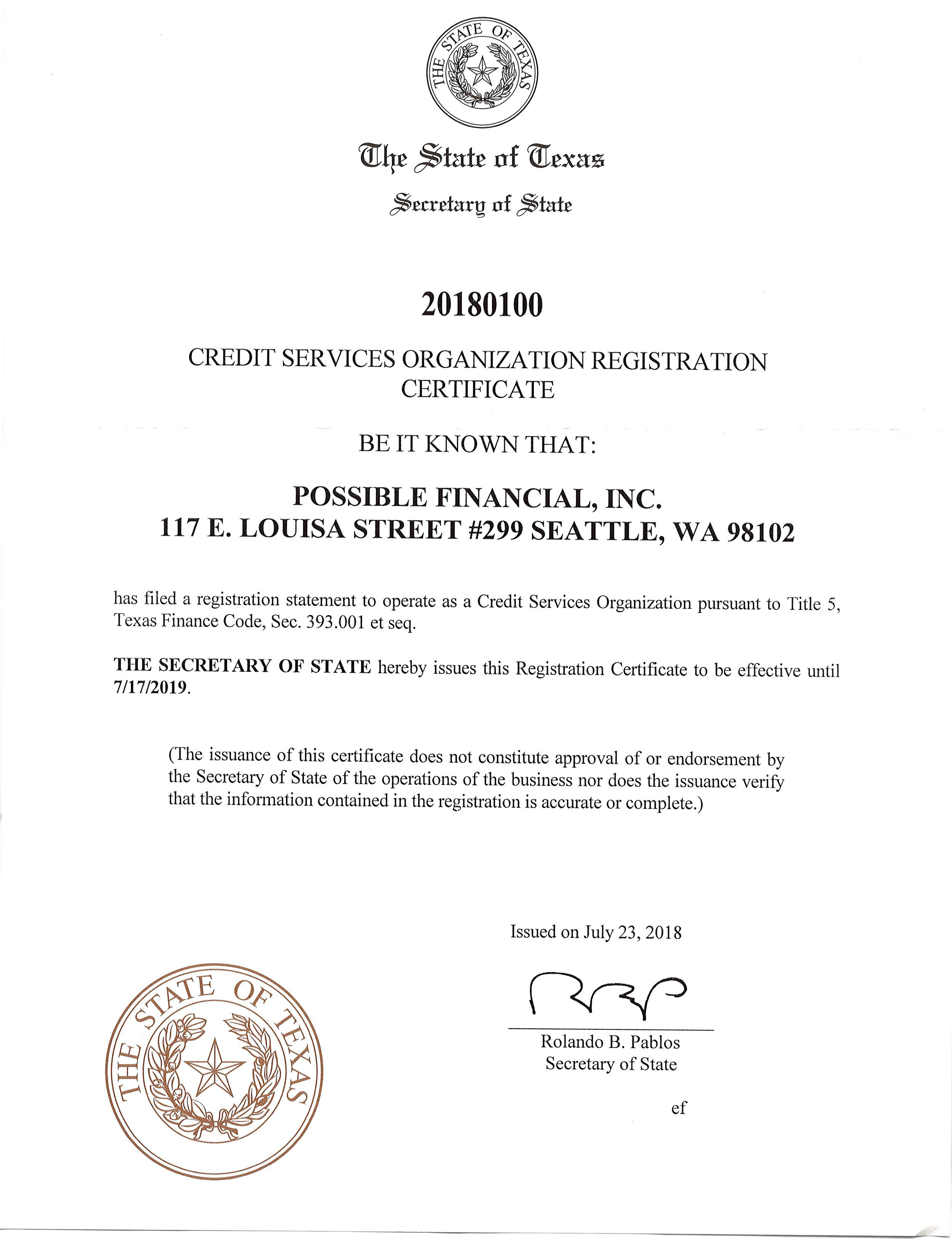 Texas CSO license for Possible Finance