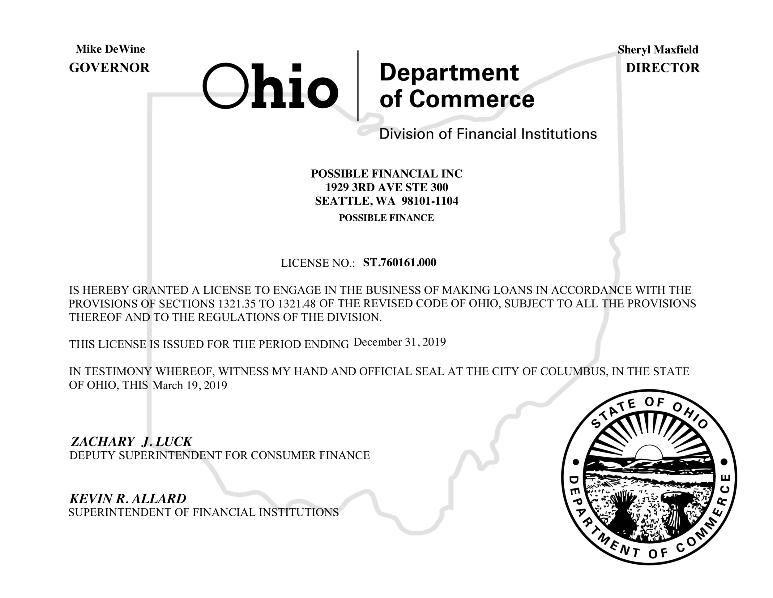 Ohio lending license for Possible Finance