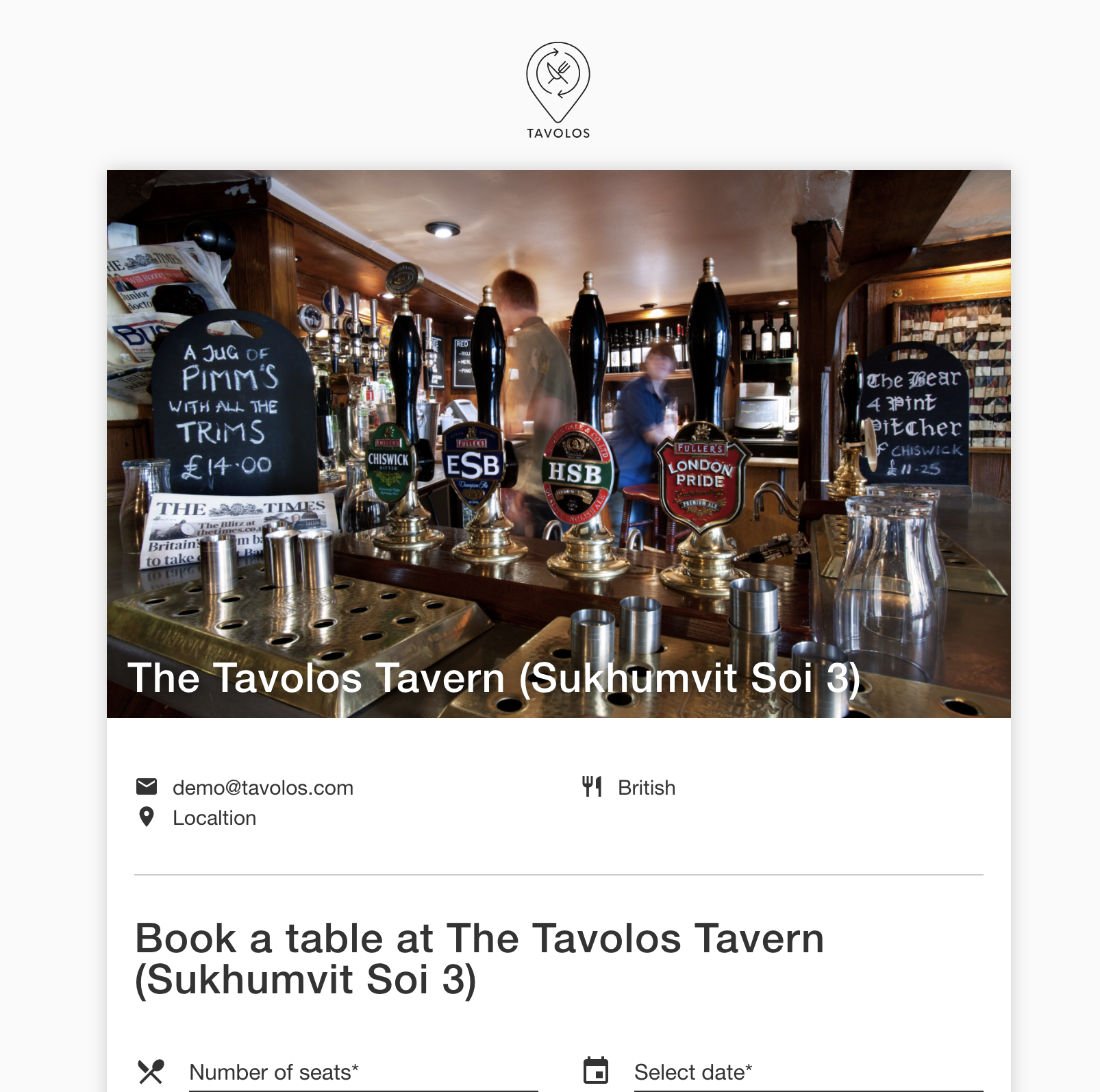 The Tavolos restaurant reservation page.