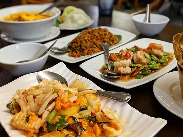 What a feast! Prai Raya, a new favourite in Nana. Have the pork belly and the sataw, so good! @prairaya_phuket