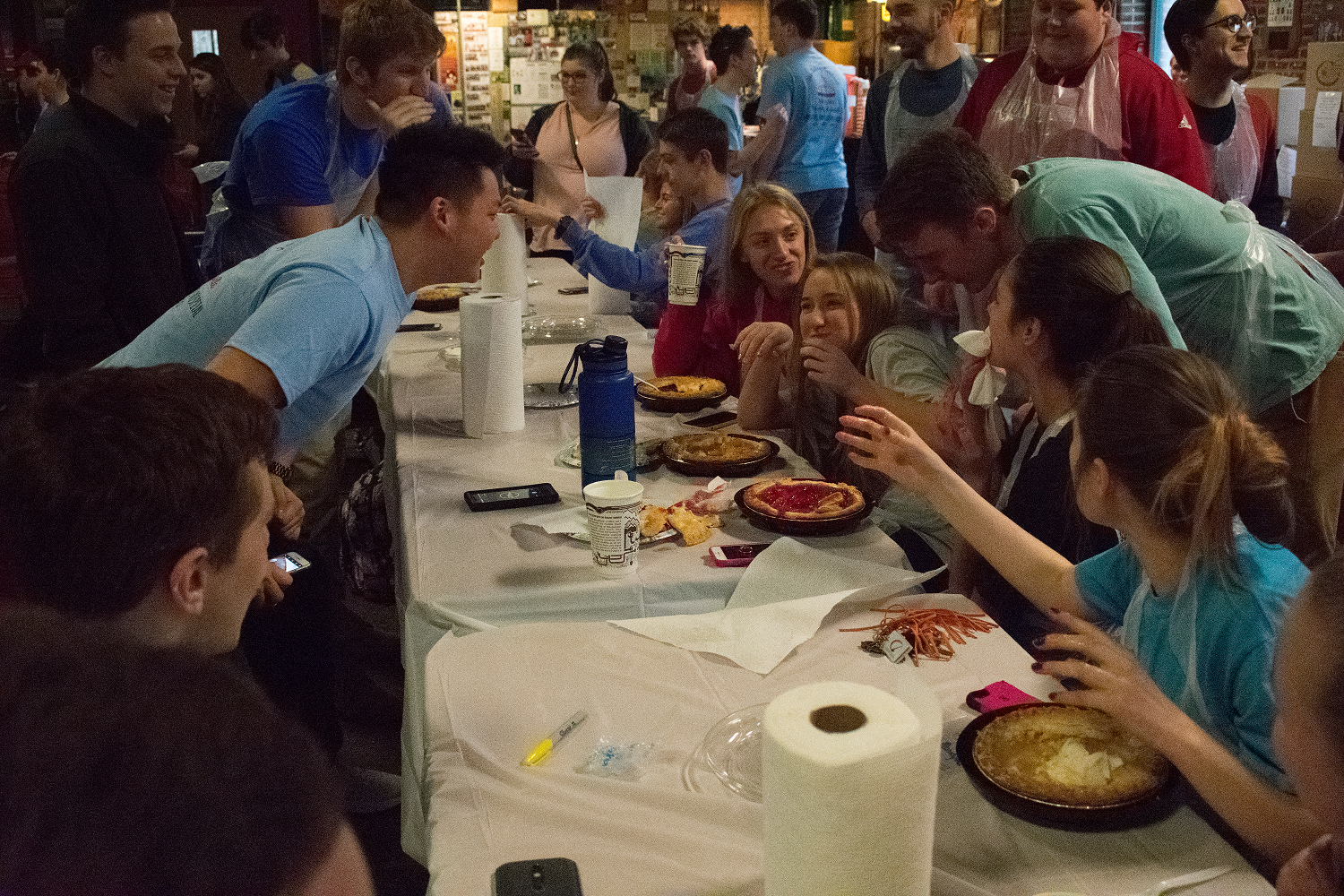 Philanthropy - Here we are hosting our new Pie Eating Contest, which was a great hit and allowed us to donate 2500 dollars to Kosair Charities. We are also heavily involved in philanthropies of Greek Community.