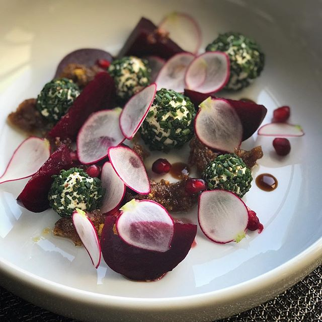 Beet salad with radish, pomegranate seeds, goat cheese with chives and a  pistachio and date vinaigrette #PrivateChef #privatedining #instafood #instagood #beetsalad #autumningredients #vegetarianfood
